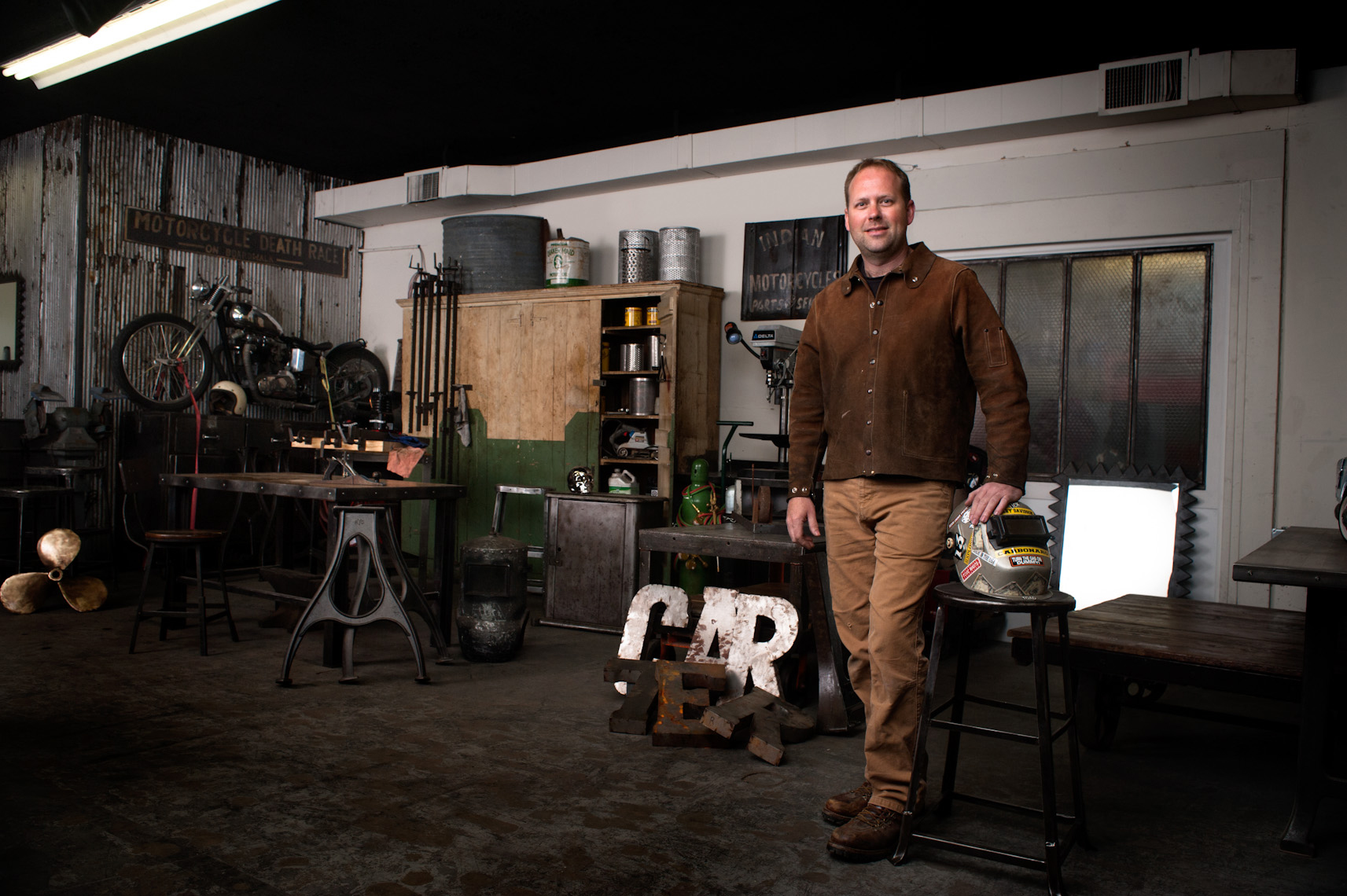 ©Robb Scharetg - Carbon Design owner in his shop .  DC photographer , SF photograper