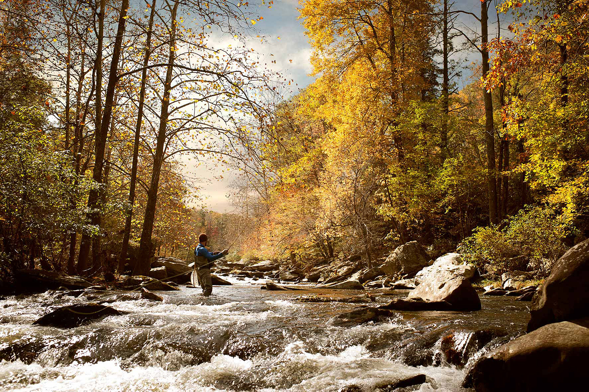 Drew Bennett casting his flyrod in a North Carolina stream