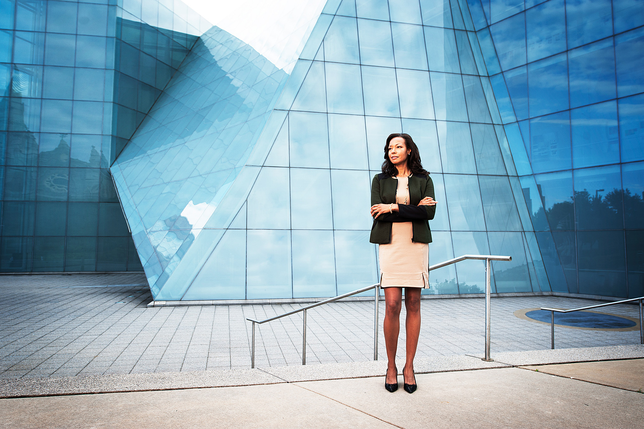 Business Executive in front of modern building